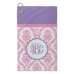 Pink, White & Purple Damask Microfiber Golf Towel - Small (Personalized)