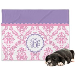 Pink, White & Purple Damask Minky Dog Blanket (Personalized)