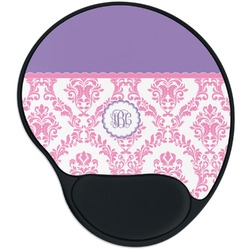 Pink, White & Purple Damask Mouse Pad with Wrist Support