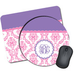 Pink, White & Purple Damask Mouse Pads (Personalized)