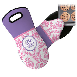 Pink, White & Purple Damask Neoprene Oven Mitt (Personalized)