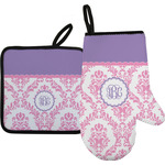 Pink, White & Purple Damask Oven Mitt & Pot Holder Set w/ Monogram