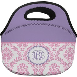 Pink, White & Purple Damask Lunch Bag (Personalized)