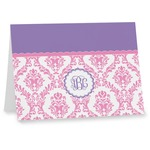 Pink, White & Purple Damask Note cards (Personalized)