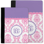 Pink, White & Purple Damask Notebook Padfolio w/ Monogram