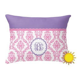 Pink, White & Purple Damask Outdoor Throw Pillow (Rectangular) (Personalized)