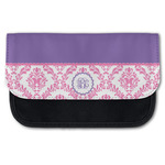 Pink, White & Purple Damask Canvas Pencil Case w/ Monogram