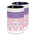 Pink, White & Purple Damask Ceramic Pencil Holder - Large