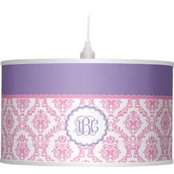 Pink, White & Purple Damask Drum Pendant Lamp (Personalized)