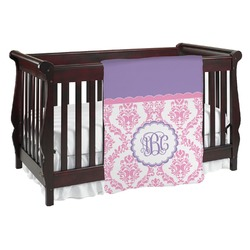 Pink, White & Purple Damask Baby Blanket (Personalized)