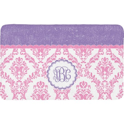 Pink, White & Purple Damask Bath Mat (Personalized)