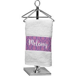 Pink, White & Purple Damask Finger Tip Towel (Personalized)