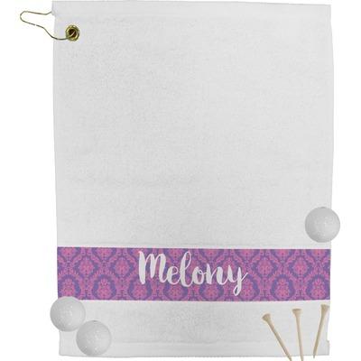 Pink, White & Purple Damask Golf Bag Towel (Personalized)