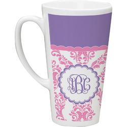 Pink, White & Purple Damask Latte Mug (Personalized)
