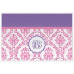 Pink, White & Purple Damask Laminated Placemat w/ Monogram