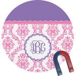 Pink, White & Purple Damask Round Fridge Magnet (Personalized)