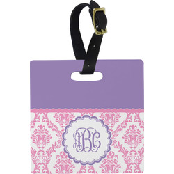 Pink, White & Purple Damask Luggage Tags (Personalized)