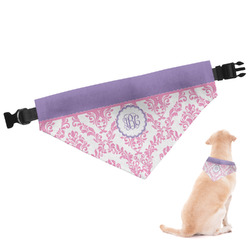 Pink, White & Purple Damask Dog Bandana (Personalized)