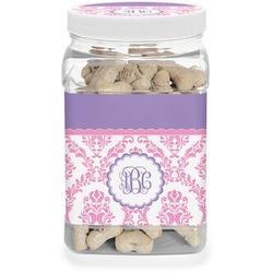 Pink, White & Purple Damask Pet Treat Jar (Personalized)