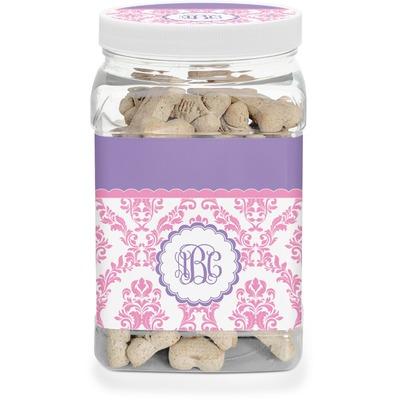 Pink, White & Purple Damask Dog Treat Jar (Personalized)