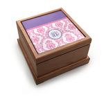 Pink, White & Purple Damask Pet Urn w/ Monogram