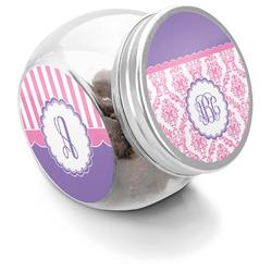 Pink, White & Purple Damask Puppy Treat Jar (Personalized)