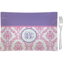 Pink, White & Purple Damask Glass Rectangular Appetizer / Dessert Plate - Single or Set (Personalized)
