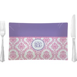 Pink, White & Purple Damask Rectangular Dinner Plate (Personalized)