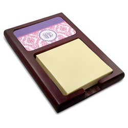 Pink, White & Purple Damask Red Mahogany Sticky Note Holder (Personalized)