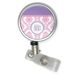 Pink, White & Purple Damask Retractable Badge Reel (Personalized)
