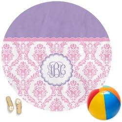 Pink, White & Purple Damask Round Beach Towel (Personalized)