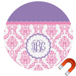 Pink, White & Purple Damask Car Magnet (Personalized)