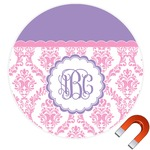 Pink, White & Purple Damask Round Car Magnet (Personalized)