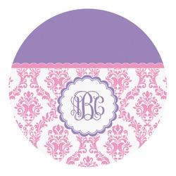Pink, White & Purple Damask Round Decal - Custom Size (Personalized)