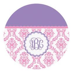 Pink, White & Purple Damask Round Decal - Medium (Personalized)