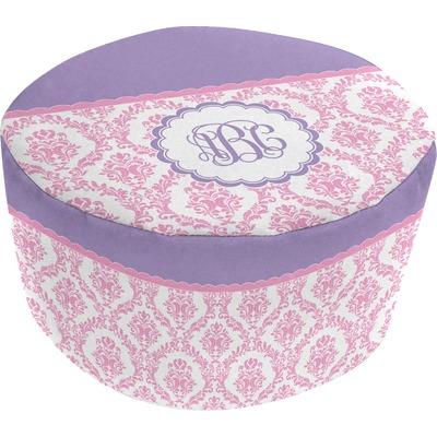 Pink, White & Purple Damask Round Pouf Ottoman (Personalized)