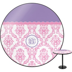 """Pink, White & Purple Damask Round Table - 30"""" (Personalized)"""