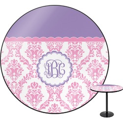Pink, White & Purple Damask Round Table (Personalized)