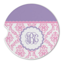 Pink, White & Purple Damask Sandstone Car Coasters (Personalized)