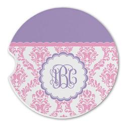 Pink, White & Purple Damask Sandstone Car Coasters (Personalized)