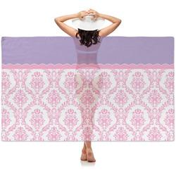 Pink, White & Purple Damask Sheer Sarong (Personalized)