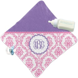 Pink, White & Purple Damask Security Blanket (Personalized)