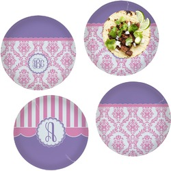 Pink, White & Purple Damask Set of 4 Lunch / Dinner Plates (Glass) (Personalized)