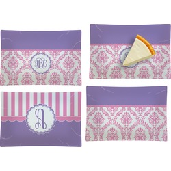Pink, White & Purple Damask Set of 4 Rectangular Appetizer / Dessert Plates (Personalized)