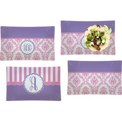 Pink, White & Purple Damask Set of 4 Rectangular Dinner Plates (Personalized)