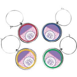 Pink, White & Purple Damask Wine Charms (Set of 4) (Personalized)