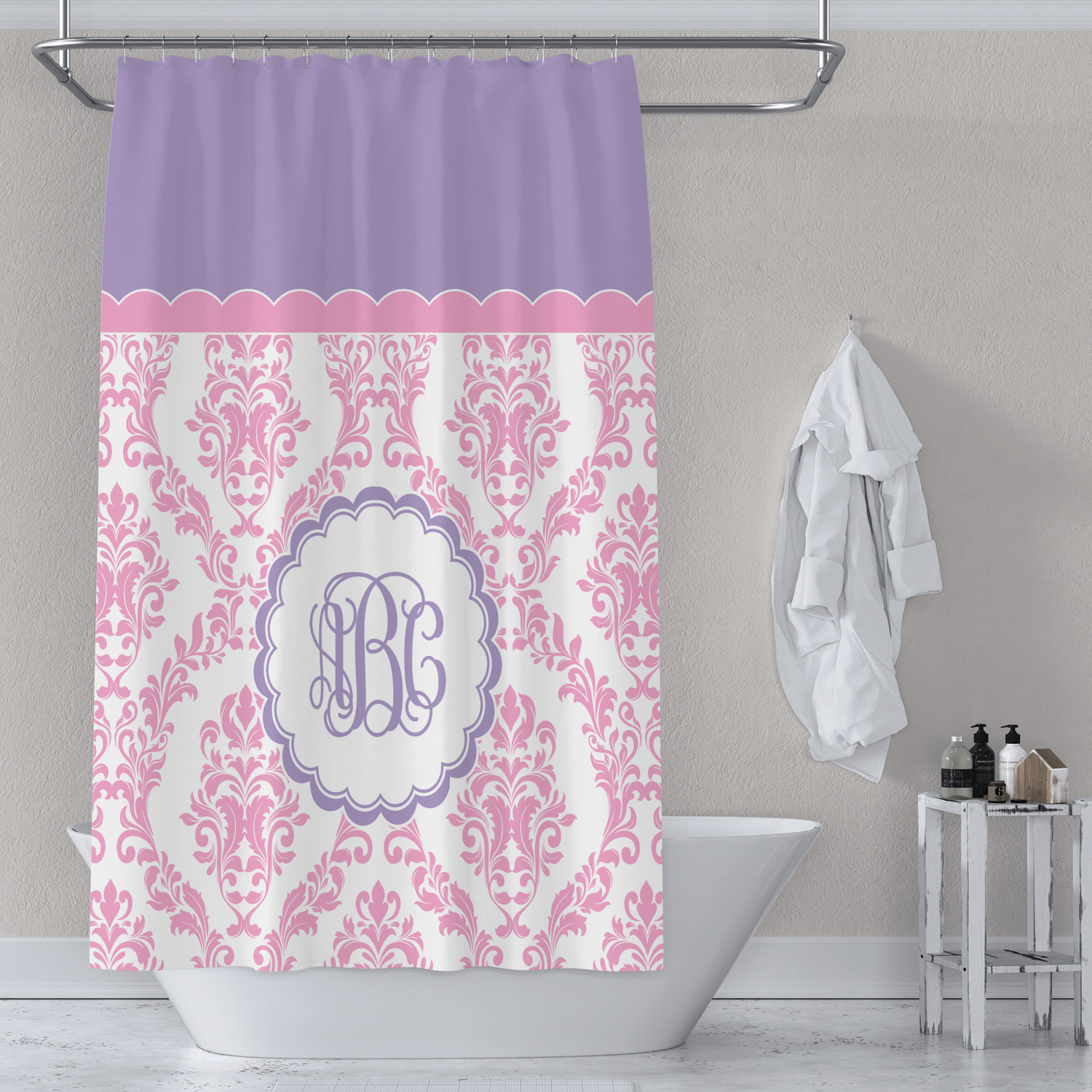 Pink White Purple Damask Shower Curtain Personalized Youcustomizeit