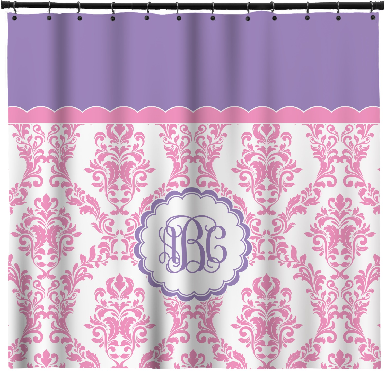 Pink, White U0026 Purple Damask Shower Curtain (Personalized)