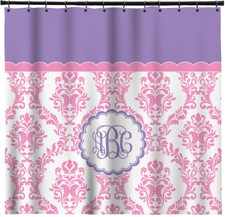 Pink White Purple Damask Shower Curtain Personalized