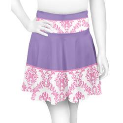 Pink, White & Purple Damask Skater Skirt (Personalized)